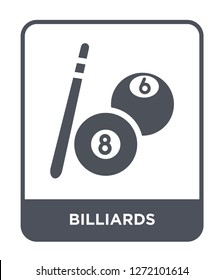 billiards icon vector on white background, billiards trendy filled icons from Entertainment and arcade collection, billiards simple element illustration