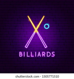 Billiards Neon Label. Vector Illustration of Sport Promotion.