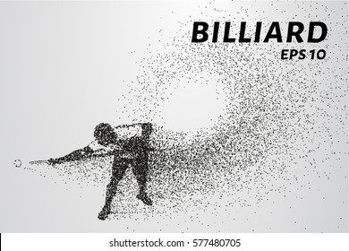 Billiards of particles. Silhouette of Billiards player consists of points and circles. Vector illustration.