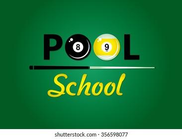Billiards. Pool school. Vector illustration.