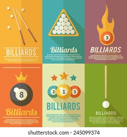 Billiards pool snooker accessories mini poster flat set isolated vector illustration