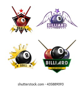 Billiards, pool and snooker sport logos set for poolroom emblems design with balls, stars, crowns. Vector illustration. Isolated on white.