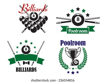 Billiards or Poolroom game badges or emblems with ball, crossed cues, ribbons, banners, wreath and trophy cup, vector illustration on white