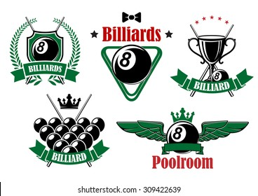 Billiards and poolroom icons with black balls, crossed cues, trophy cup and triangle rack adorned by stars, wings, crowns, wreath and ribbon banners