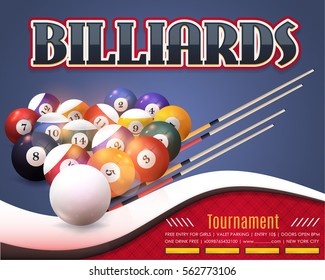 Billiards Poster Event Info Postcard Design and Sports Ad Web Banner or Cue Sports Horizontal Card Template, Realistic Billiard Ball and Stick Illustration. Vector Background