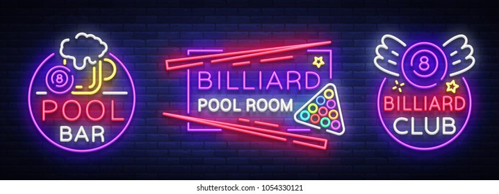 Billiards set of neon signs. Collection Design Patterns Bright neon emblem, logo for Billiard Club, Bar, Tournament. Light banner, night sign for your projects. Vector Illustrations