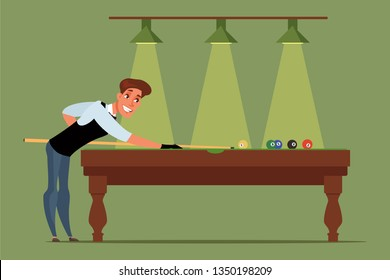 Billiards, snooker player flat vector illustration. Man enjoying indoor activity. Cartoon pool player with stick, cue aiming at billiard balls. Sports club entertaining. Professional competition