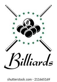 Billiards and snooker sports emblem with balls, cue , stars and text for sporting logo and leisure design