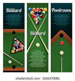 Billiards sport club and pool room banner set. Pool or snooker table with crossed billiard cues, ball and decorative corner pocket for billiards tournament or competition event invitation flyer design