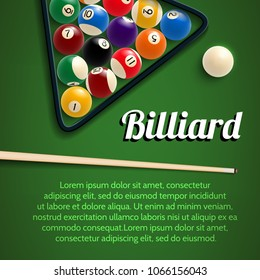 Billiards sport game 3d poster for pool room or billiard club template. Green billiard table in starting position with ball, cue and rack or triangle for pool or snooker game tournament banner design