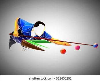 billiards styled athlete, vector