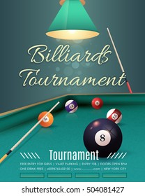 Billiards Tournament Flyer, Poster Template. Billiard Table and Sticks Illustration