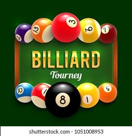 Billiards tournament poster design of color billiard balls on green table background. Vector snooker sport game tourney announcement template for billiards team championship