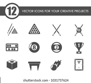 billiards vector icons for your creative ideas