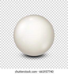 Billiard,white pool ball. Snooker. Transparent background. Vector illustration.