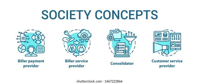 Billing concept icons set. Society idea thin line illustrations. Consolidator and customer service. Biller payment and service provider. E-commerce. Vector isolated outline drawings. Editable stroke