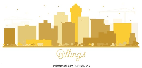 Billings Montana City Skyline Silhouette with Golden Buildings Isolated on White. Vector Illustration. Business Travel and Tourism Concept with Modern Architecture. Billings USA Cityscape.