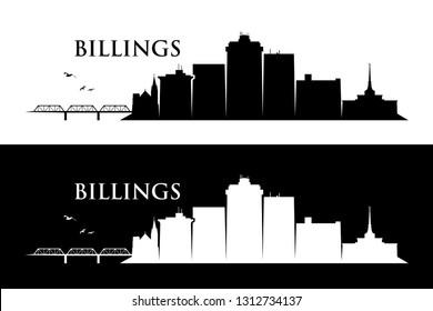 Billings skyline - Montana, United States of America, USA - vector illustration