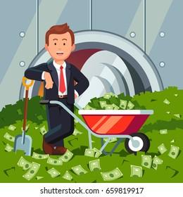 Billionaire businessman inside full bank vault standing on a huge cash pile. Shovel filled dollars wheelbarrow. Very rich man shoveling up money. Business success. Flat style vector illustration.