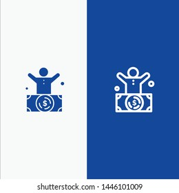 Billionaire, Man, Millionaire, Person, Rich Line and Glyph Solid icon Blue banner Line and Glyph Solid icon Blue banner