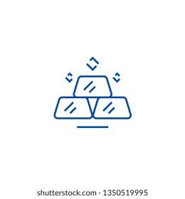 Billion,gold bars line icon concept. Billion,gold bars flat  vector symbol, sign, outline illustration.