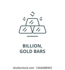 Billion,gold bars line icon, vector. Billion,gold bars outline sign, concept symbol, flat illustration