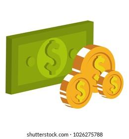 bills and coins dollar money icon