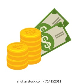 bills and coins money isolated icon