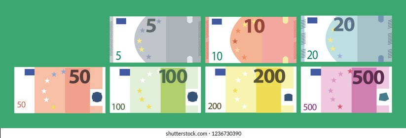 Bills of different denomination. Euro banknotes. Simple, flat style. Graphic vector illustration.