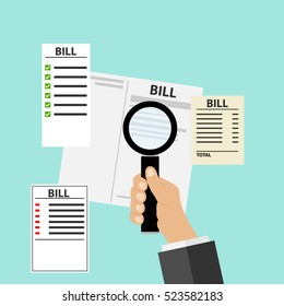 Bills, receipts set, a set of bills, utilities, magnifying glass in hand. Flat design, vector.