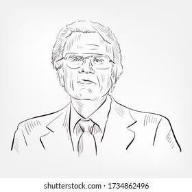 Billy Graham William Franklin famous American evangelist Christian leader vector sketch portrait