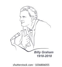 Billy Graham, William Franklin Graham (November 7, 1918 – February 21, 2018) American evangelist, significant evangelical Christian figure, vector portrait, hand drawing