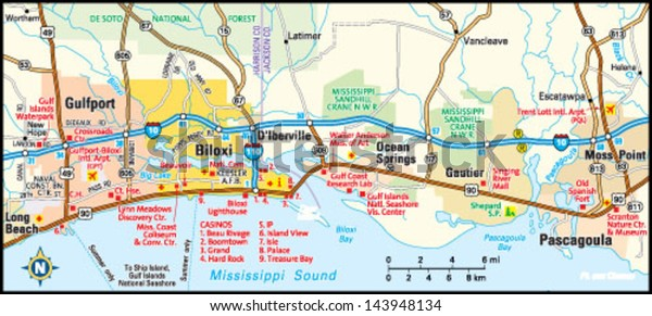 Biloxi Mississippi Area Map Stock Vector Royalty Free 143948134