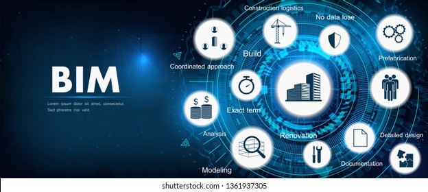 BIM banner - building information modeling. The concept of business. Vector illustration concept with icons and keywords. Bim background