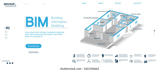 BIM banner - building information modeling. Website page with a 3d projection of an isometric house. BIM icons and information. The concept of business. Vector illustration BIM concept. Modeling