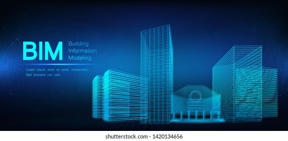 BIM - building information modeling. The concept of business. Industry construction,  from start to finish. Modern illustration in a futuristic style with models buildings and inscription BIM. Vector