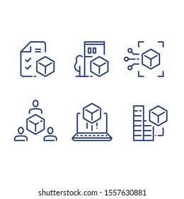 BIM concept, 3d modeling services, estate development, architecture visualization, vector line icon set