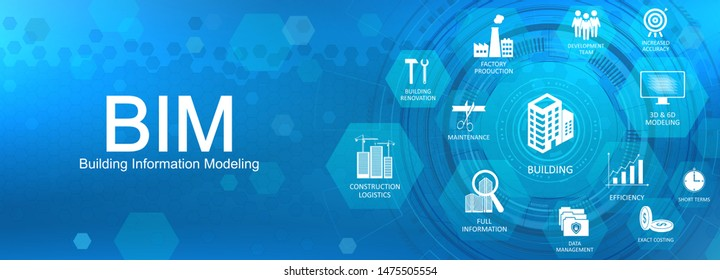 BIM concept web banner - Building Information Modeling. Key aspects of the BIM industry with icons on a nice blue background. Web site vector illustration