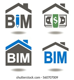BIM vector icon eps 10 set building information modeling business industrial development physical web concept. Build, house, real estate, construction, architecture technology