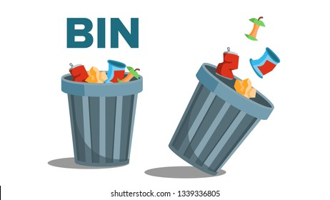 Bin Garbage Vector. Full Of Trash. Inverted. Isolated Flat Illustration