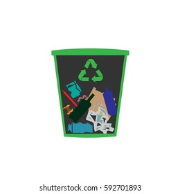 bin with garbage vector icon