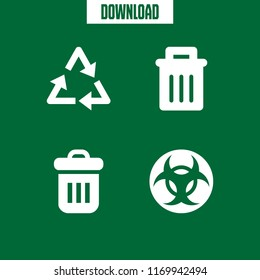 bin icon. 4 bin vector set. biohazard, trash, recycling and garbage icons for web and design about bin theme