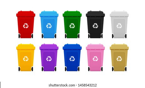Bin Plastic Collection, Colorful Recycle Bin isolated on white background, Bins with Recycle Waste Symbol, Front view set of the Bins Plastic, 3r