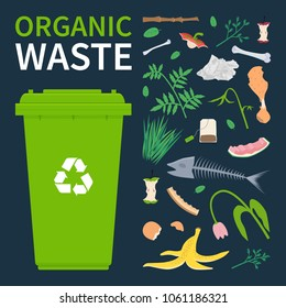 Bin for recycling organic waste. Food scraps and leftovers, cut tree brunch, grass. Vector illustration