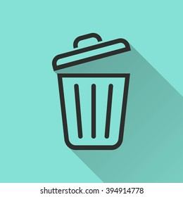 Bin    vector icon. Black  illustration isolated on green  background for graphic and web design.