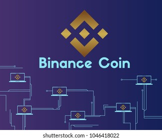 Binance coin circuit concept style background