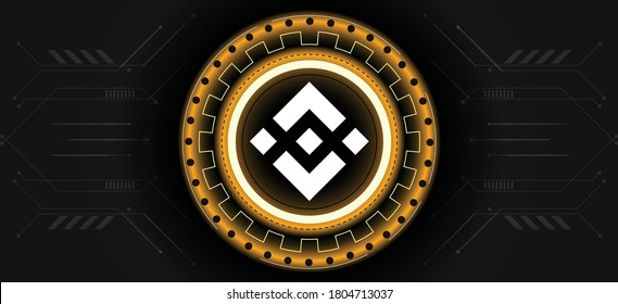 Binance coin logo with crypto currency themed background design. Modern neon color banner for Binance or BNB icon. Cryptocurrency Blockchain technology, digital innovation & trade exchange concept.