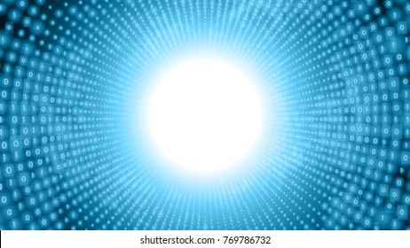 Binary big data stream visualization. Blue tunnel flow of data as numbers strings. Information code representation. Cryptographic analysis. Bitcoin, blockchain transfer. Stream of encoded data.
