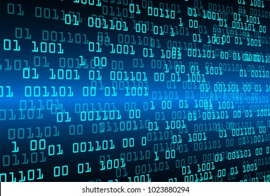 binary circuit board future technology, blue cyber security concept background, abstract hi speed digital internet.motion move blur. pixel vector