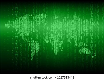 binary circuit board future technology, green cyber security concept background, abstract hi speed digital internet.motion move blur. world map vector